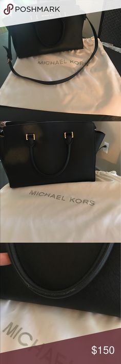 Large Selma Black Michael Kors hand bag Used condition, large Selma style, black Michael Kors handbag. Dust bag included. Reasonable offers will be considered through the offer button only. Michael Kors Bags Crossbody Bags