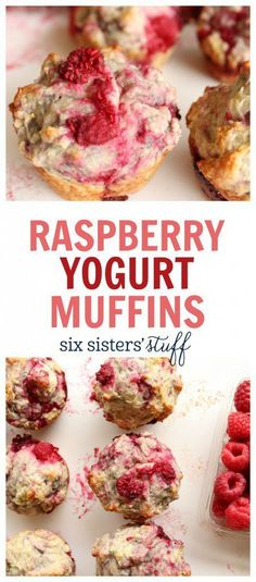 Raspberry Yogurt Muffins from @sixsistersstuff | An easy recipe for a quick morning breakfast.