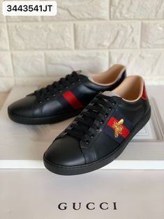 Gucci ace sneakers black leather embroidered bee woman man Gucci Ace Sneakers, Gucci Shoes, Man Shoes, Bee, Converse, Black Leather, Woman, Fashion, Moda