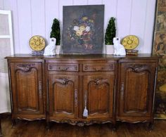 Antique French Country Louis XV Buffet Sideboard Server 4 Door Carved Oak Shell…