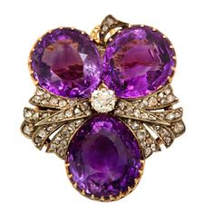 Antique Russian Amethyst Diamond Floral Brooch; Russia ca. 1890