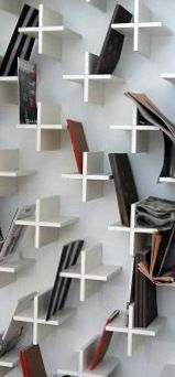 Cross book shelves