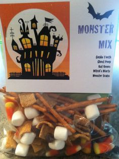 Monster Mix snack for my son's class (Goblin teeth = candy corn, bat bones = pretzel sticks, witch's warts = choc chips, monster scabs = golden grahams cereal, ghost poop = mini marshmallows)
