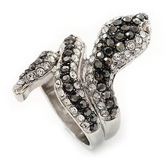 Wide Grey Austrian Crystal 'Coiled Snake' Double Band Ring In Rhodium Plating - 50mm Width - Size 8 Zblzxztl
