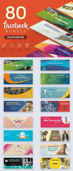 Facebook Cover Bundle Template PSD Office Wall Graphics, Facebook Cover Template, Header, Cover Design, Templates, Stencils, Vorlage, Models, Cover Art