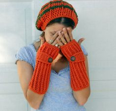 Crochet pumpkin spice long ribbed arm warmers/fingerless gloves and beanie hat.