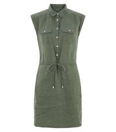 Khaki Linen Cap Sleeve Shirt Dress