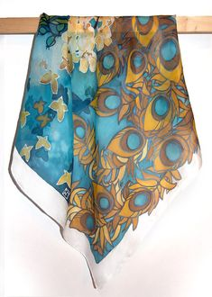 Square scarf Peacock  hand painted silk scarf  silk by MinkuLUL, $45.00