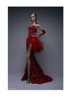 Red star for Fashion Royalty (Poppy parker, New Nuface, Nuface) Barbie Gowns, Barbie Dress, Barbie Doll, Fashion Royalty Dolls, Fashion Dolls, Diva Fashion, Couture Fashion, Barbie Fashionista, Ball Gown Dresses