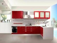 Red N White Kitchen Cabinets