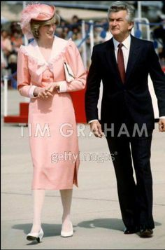 March 25, 1983: Princess Diana and Prime Minister Hawke at Canberra Airport, Canberra.