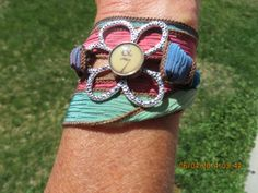 BOHO Silk Ribbon Wrap BRACELET or ANKLET with silver by bling33, $18.00