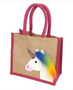 Pink Trim Unicorn Design Jute Small Bag This Pink Trim Jute Small Jute bag has a Unicorn design on one side As it is small it could be used as a Hessian Bags, Jute Tote Bags, Reusable Tote Bags, Small Jute Bags, Childrens Party Bags, Eco Friendly Bags, Birthday Presents, Shopping Bag, Burlap