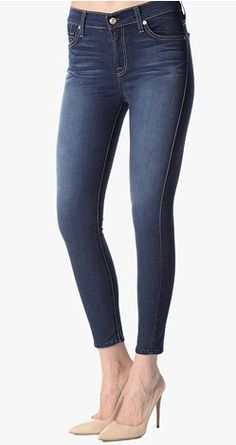 The Mid Rise Cropped Skinny in Bright Blue Sateen