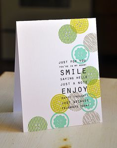 Smile Button Card by Maile Belles for Papertrey Ink (November 2012)