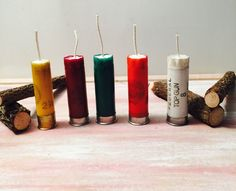 A personal favorite from my Etsy shop https://www.etsy.com/listing/257688139/shotgun-shell-candles-set-of-5-12-gauge