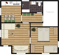 "Grundriss Apartement ""BERTA"" OG Floor Plans, Floor Layout, Cottage House, Floor Plan Drawing, House Floor Plans"