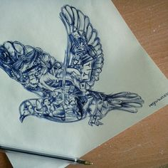 Sketch of Coldplay's 'Ghost Stories' dove; blue biro