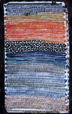 Judy Martin - allover rows of stitching! Textile Fiber Art, Textile Artists, Couching Stitch, Textiles Sketchbook, Fabric Embellishment, Fabric Postcards, String Quilts, Fabric Journals, Fabric Rug
