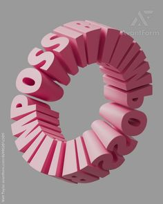 IMPOSSIBLE text moving as a geometrically impossible looping object. Impossible loop by Matt Taylor Graphic Design Posters, Graphic Design Inspiration, Geometric Graphic Design, Geometric Symbols, Geometric Type, Graphic Design Trends, 3d Design, Logo Design, Text Design