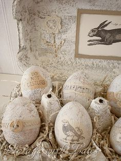 cute decorated egg cartons with shredded book pages for straw, great finish on the egg carton and eggs