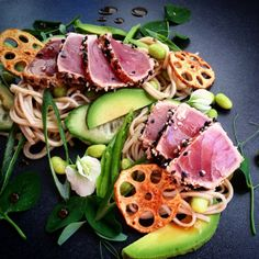 Pan Seared Tuna and Soba Noodle Salad with Ponzu and Wasabi Dressing by www.fourplates.org