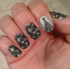 Watch The Sparkle Of Black Grey And Silve Nail Art