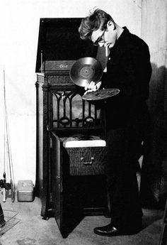 James Dean, Listening to 78's on the phonograph.