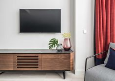 Adara Collection, an innovative system of sideboards, chests of drawers & tv furniture with a unique curved finish and fusion of materials. Tv Furniture, Living Room Furniture, Furniture Ideas, Unique Tv Stands, Tv Stand With Drawers, Small Apartments, Wall Shelves, Interior Inspiration, Bedroom Decor