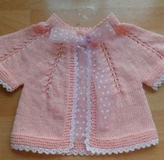 Girly and pretty ~~ Pink cardigan with plumetis / organdie ribbon and crocheted edgining