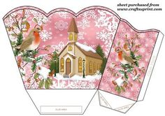 Pink christmas robins and church gift basket on Craftsuprint designed by Sharon Poore - Pink christmas robins and church gift basket,you will need to print 2 sheets to make gift basket - Now available for download!