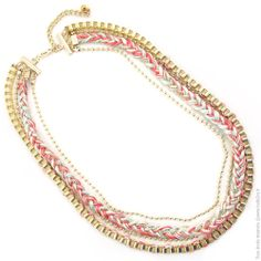 Ensemble colliers tressés métal doré et liens pastels - Bijoux Fantaisie/Sautoirs - Bulle2co