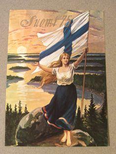 SUOMI - FINLAND Nordic Art, Scandinavian Art, Scandinavian Countries, Viking Woman, Old Ads, Europe, Australia, Norway, Poster