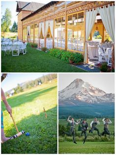 i want that outdoor patio/tent/wood thing! Mt. Hood Organic Farms wedding