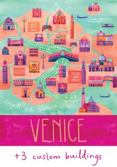 Lovely color on this customized Illustrated Venice Map, by marisamidori, via Etsy.