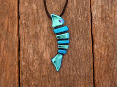Dichroic Fused Glass Fish Necklace