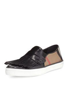 Herbert Brogue Kiltie Sneaker, Black, Women's, Size: 5B/35EU - Burberry
