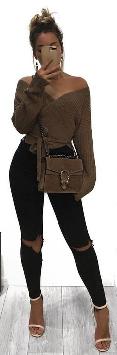 #winter #outfits brown off-shoulder long-sleeved top with distress black skinny denim jeans outfit