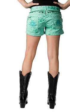 Roar Women's Turquoise with Sequins, Crystals and R Embroidered Open Pockets Shorts