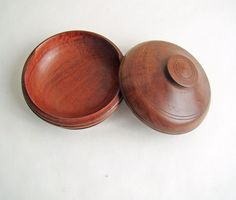 Hand Turned Wooden Trinket Dish with Lid Rustic by AboutThePlace