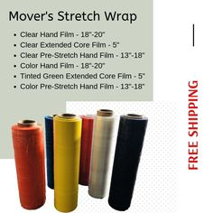 "6 Rolls Bundle Banding Stretch Wrap Shrink Film 5/"" x 1000/' 80 gauge"