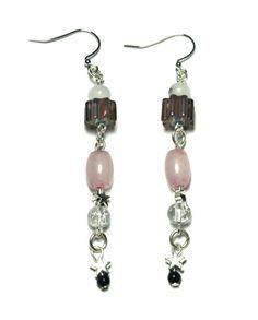 Stars and Purple Quartz Earrings, Malaysia jade beads, silver stars, fish hook earrings
