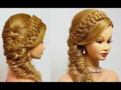 Hairstyles for long hair tutorial. 4 Strand with Fishtail Braid. - YouTube