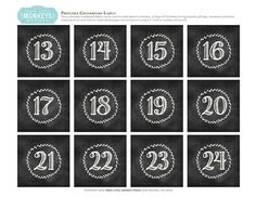Free Printables - Chalkboard Numbers for Gift Boxes and Advent Calendars by Three Little Monkeys Studio