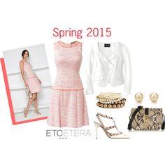 Etcetera | Spring 2015 - CHARLIE ivory tweed jacket, FRINGED coral and white tweed dress.