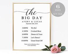 3 sizes wedding program sign poster faux chalkboard wedding sign