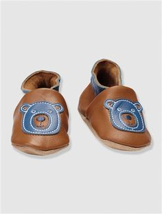 ab0c28199a9ca Baby Boy s Elasticated Leather Slippers BLUE DARK SOLID WITH DESIGN+BROWN  MEDIUM SOLID WITH DESIGN - vertbaudet enfant