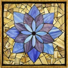 "Student Work - Framed Stained Glass Mosaic Lotus 12"" x 12"" created by Linda in a Stained Glass Mosaic Flower Workshop with Artist Kasia Polkowska - View the list of locations and dates for Kasia's Workshops Here: http://kasiamosaicsclasses.blogspot.com/"
