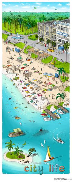 City life. Beach city on Behance