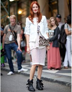 New York Fashion Week Street Style Spring 2012: Taylor Tomasi-Hill knows how to mix ladylike pieces with edgy accesories